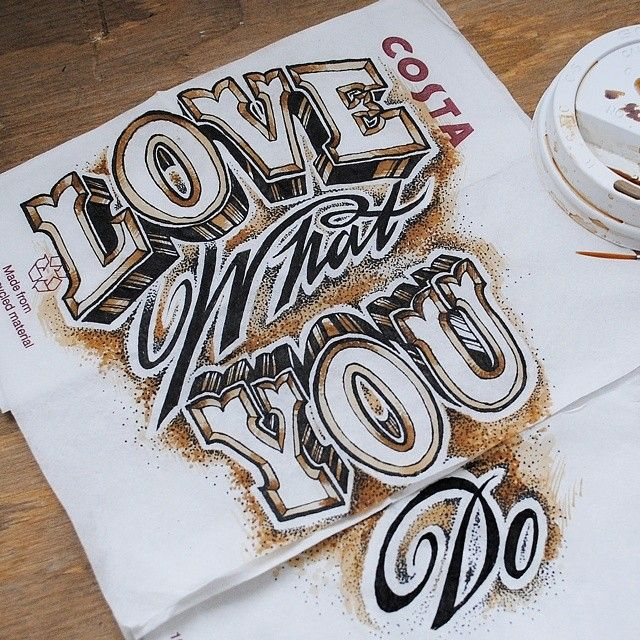 Coffee and ink napkin drawing by Rob Draper