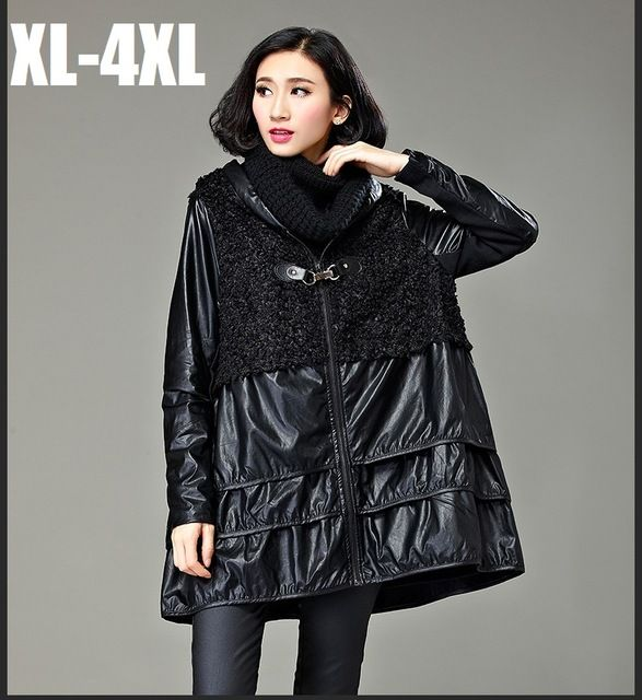 2015Autumn winter female A-line trench coat fashion women PU patchwork outwear plus size hooded casual blouse flare topXXXXL3258 US $52.56 To Buy Or See Another Product Click On This Link  http://goo.gl/Ln6ntd