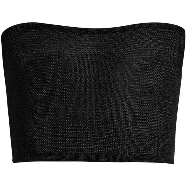 Balmain Stretch-knit bandeau top (1.140 RON) ❤ liked on Polyvore featuring tops, bralets, black, bandeau tops, bralet tops, bralette tops, bandeau bikini tops and snug top