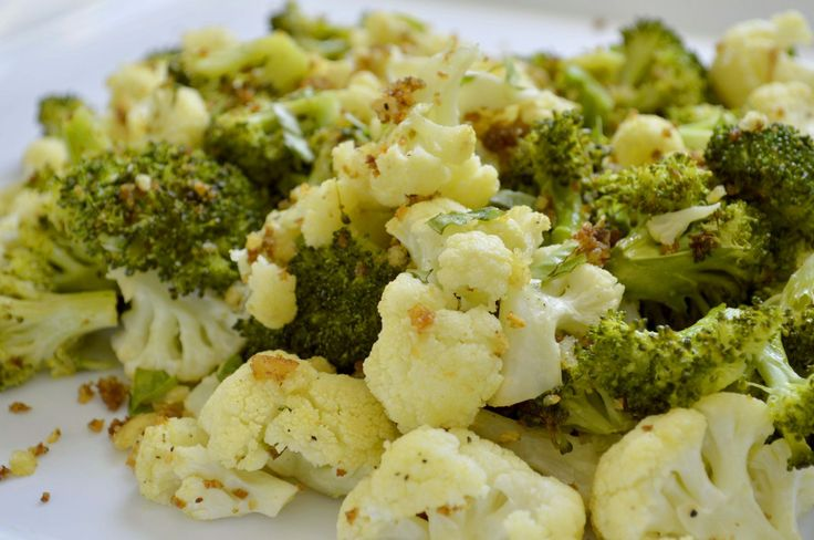 Roasted brcccoli and cauliflower