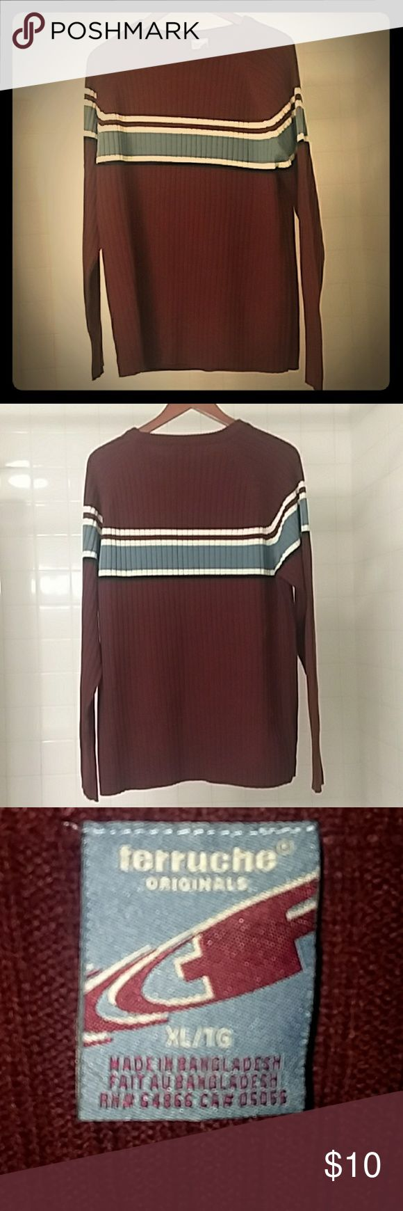 Mens 90s sweater The 90s and 00s are back in style! Authentic and excellent condition burgundy sweater with a light blue stripe. ferruche Sweaters