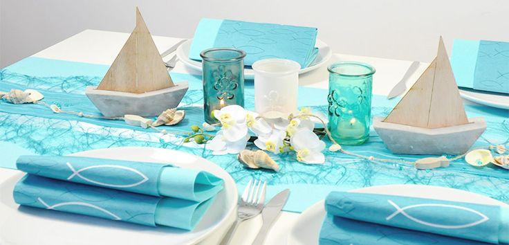 Moderne Tischdeko in Mintblue mit Schiffen zur Kommunion oder Konfirmation bei Tischdeko-Shop.de