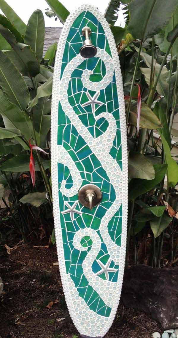 Surf-board outdoor shower: 27 Awesome Beach-Style Outdoor Living Ideas for Your Porch and Yard
