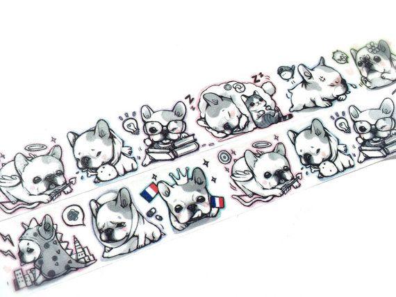 French Bulldog washi tape by Meowashitape