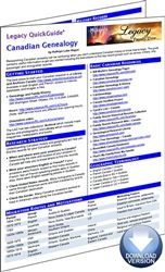 Legacy QuickGuide™: Canadian Genealogy - PDF Edition. Researching Canadian ancestry can be confusing when you do not understand Canadian history or know how to begin. The Canadian Genealogy Legacy QuickGuide™ contains useful information to get you started including the best places to find key record groups such as census, military, ship passenger and immigration records. #genealogy #ebooks