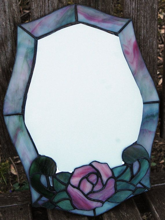 Stained Glass Mirror with Rose by OriAnnaGlassArt on Etsy