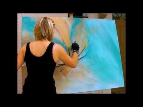 """Démonstration de peinture abstraite (13) Elisabeth - Toile """"Evolution"""" - YouTube"""