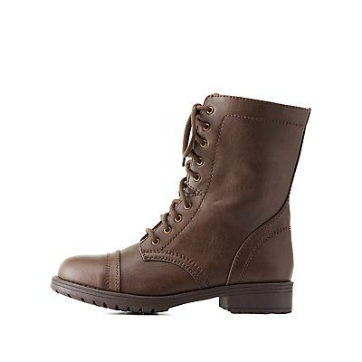 Brown Lace-Up Combat Boots - Size 9