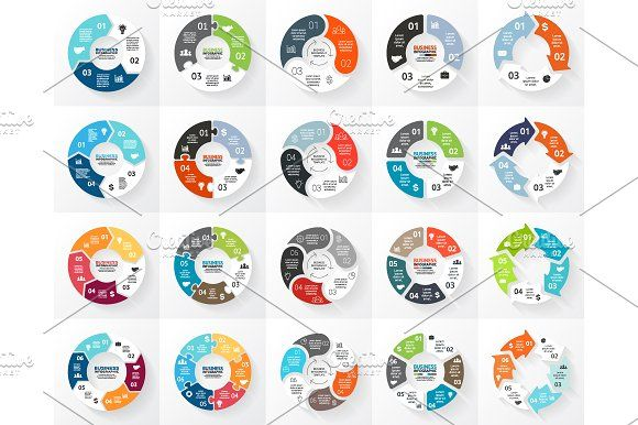 20 Circle Arrows For Infographic by TheSeamuss on @creativemarket