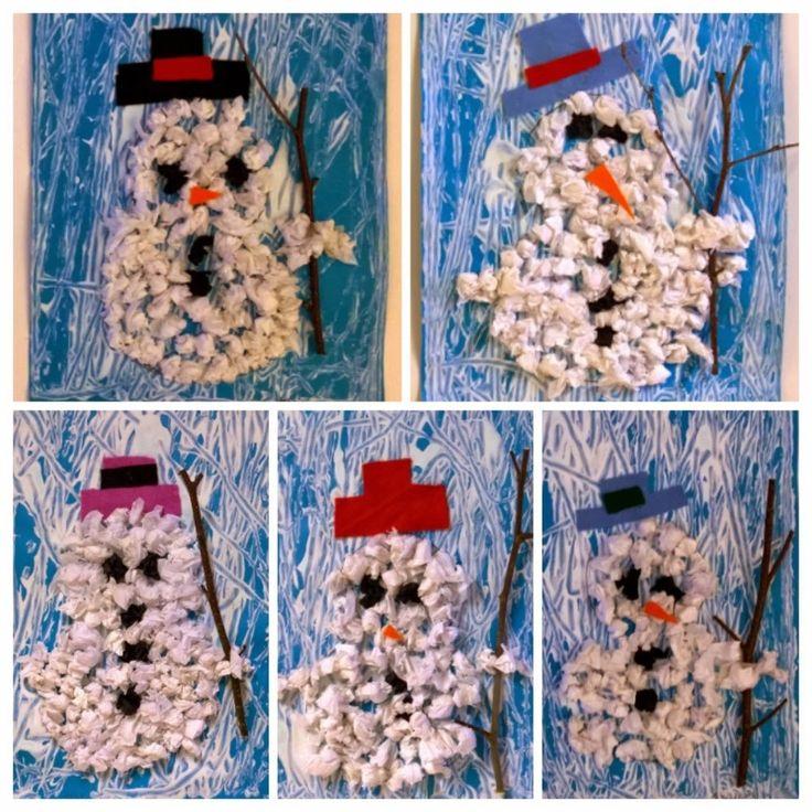 Lumiukko silkkipaperipalloista
