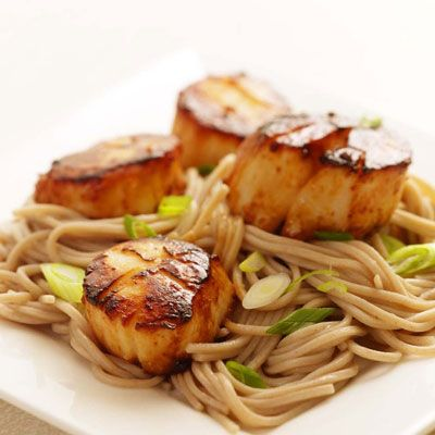 Heart Healthy Recipes - Quick Heart Healthy Meals - Delish.com - Miso glazed scallops w/ sobu noodles.