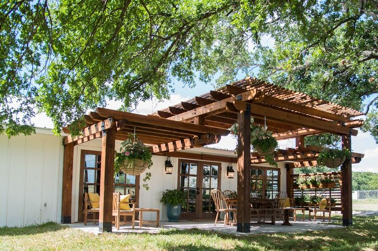 Nice pergola over yard-level patio.