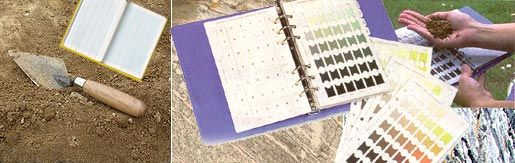 image features Chartwell field notebook, soil charts, and a trowel