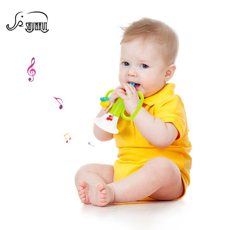 Kids Cute Plastic Trumpet Baby Musical Instrument Toys SHUNHUI Colorful Winding Bugle Hooter Bell Educational Toys for Children
