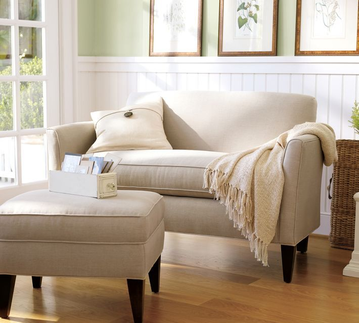 Marcel upholstered mini sofa pottery barn living room - Small couch for bedroom ...