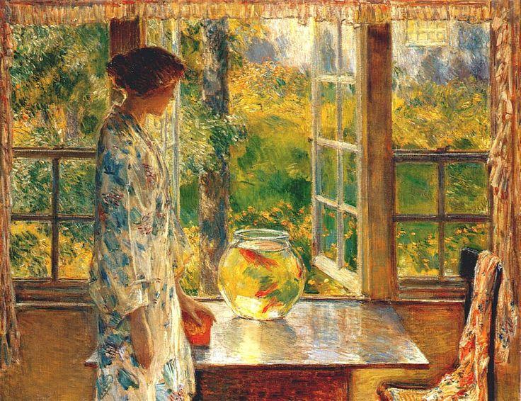 Childe Hassam (American, 1859-1935)  Bowl of Goldfish  1912
