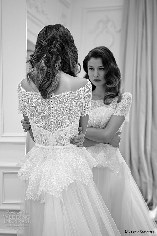 Best 25 peplum style wedding dresses ideas on pinterest peplum wedding dresses from maison signore excellence 2016 bridal collection junglespirit Gallery