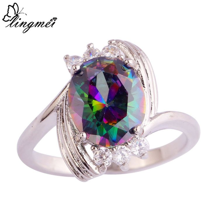 lingmei Wholesale Unisex Mysterious Rainbow White CZ Multi-Color  Silver Ring Size 6 7 8 9 10 11 12 Fashion New Jewelry