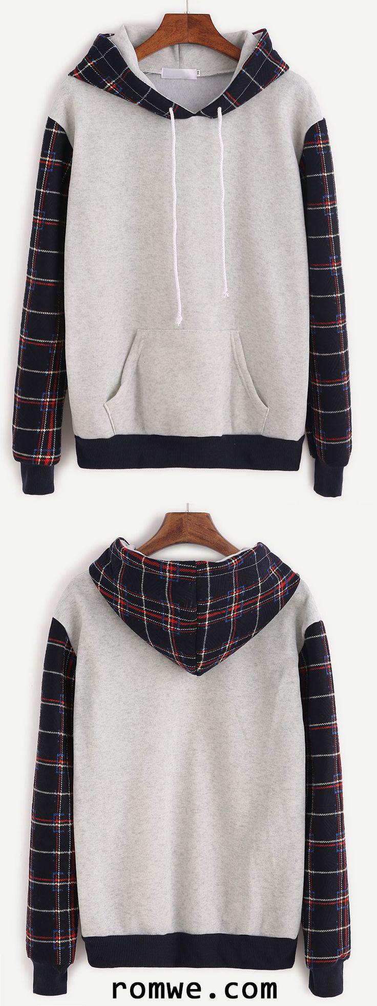 Grey Plaid Contrast Sleeve Drawstring Hooded Sweatshirt