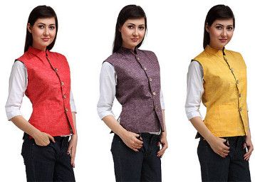 Groupon Independence Day Offer : Independence Day Special Nehru Jacket for Women - Best Online Offer