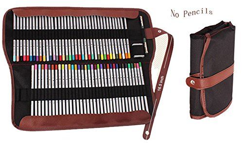 iSuperb® Colored Pencil Organizer Roll Pouch Canvas Multi-purpose Drawing Pencil Wrap 72 Pencil Holder for School Office (72 Pencil Holder Black): Amazon.co.uk: Office Products