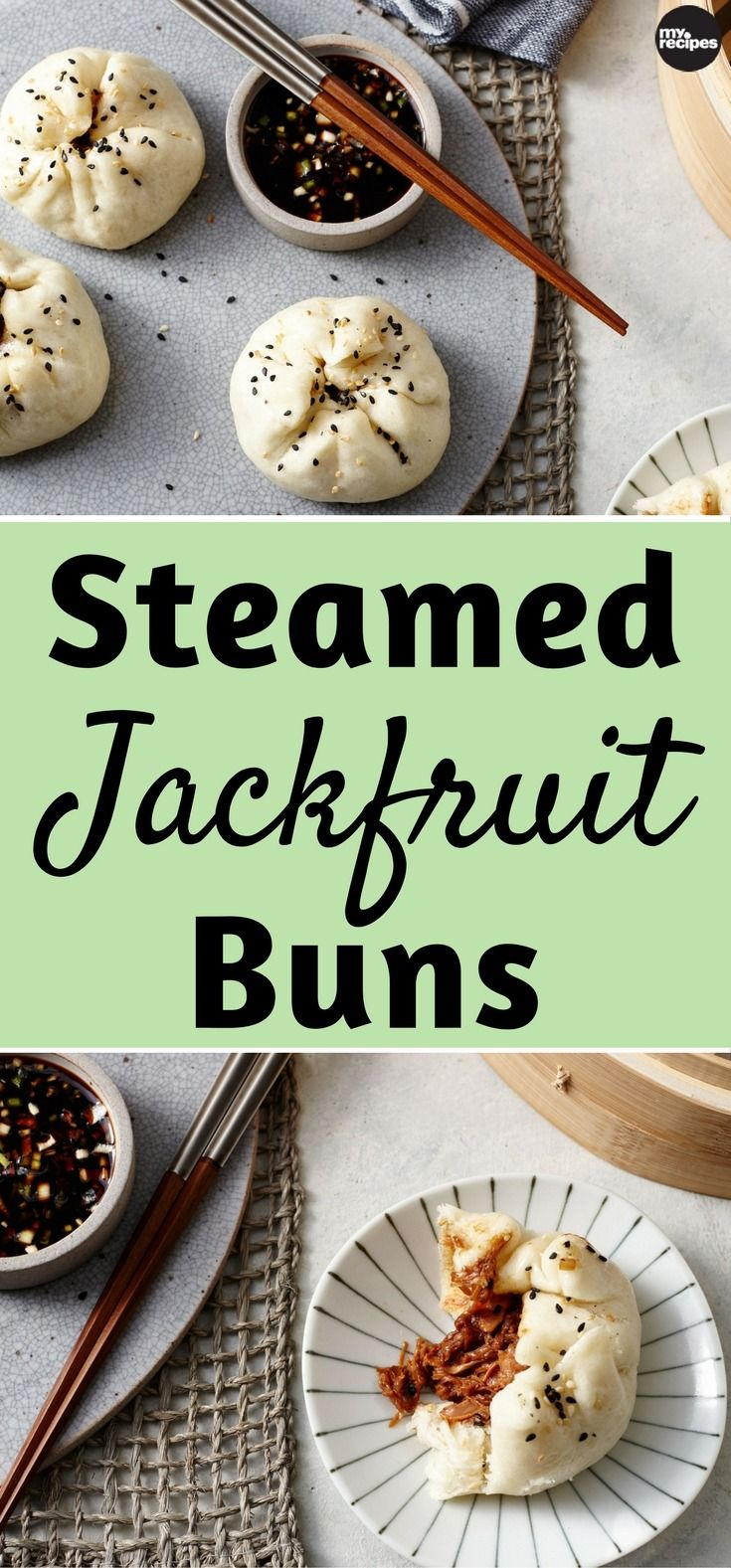 These vegan buns are just like Char Siu Pork Bao (barbecue pork-filled buns) that you find at dim sum. Not only is this an amazing vegan version of the dish, it's an amazing version of the dish period. The filling for the bao is sweet and tangy, and the dough is pillowy and soft. Jackfruit can be found at any Asian market. | MyRecipes