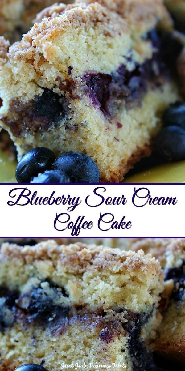 Blueberry Sour Cream Coffee Cake Is Moist Loaded With Bursting Blueberries And A Crumb Topping B Sour Cream Recipes Blueberry Coffee Cake Recipe Coffee Cake