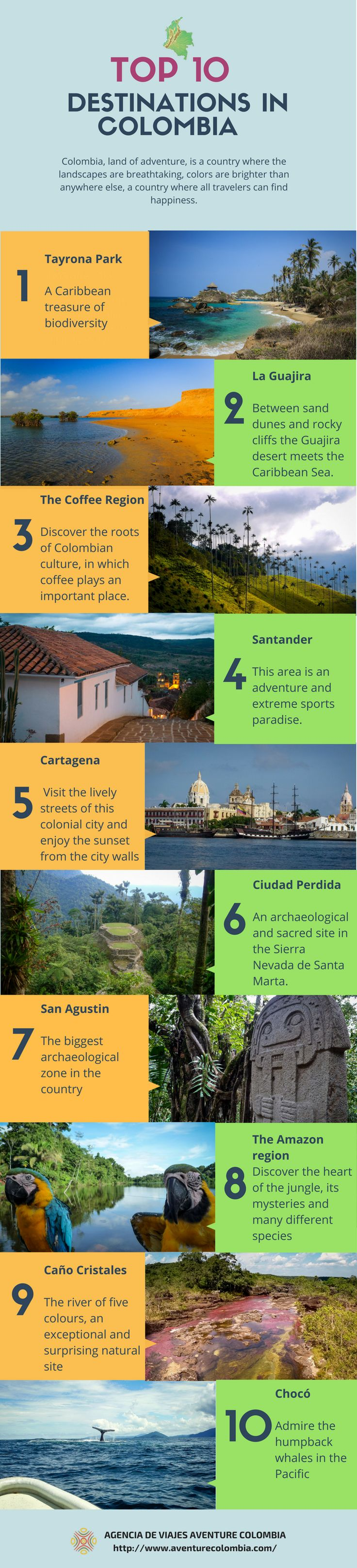 Top 10 destinations in #Colombia. A beautiful country with wonderful landscapes, many traditions and fascinating history. #travel