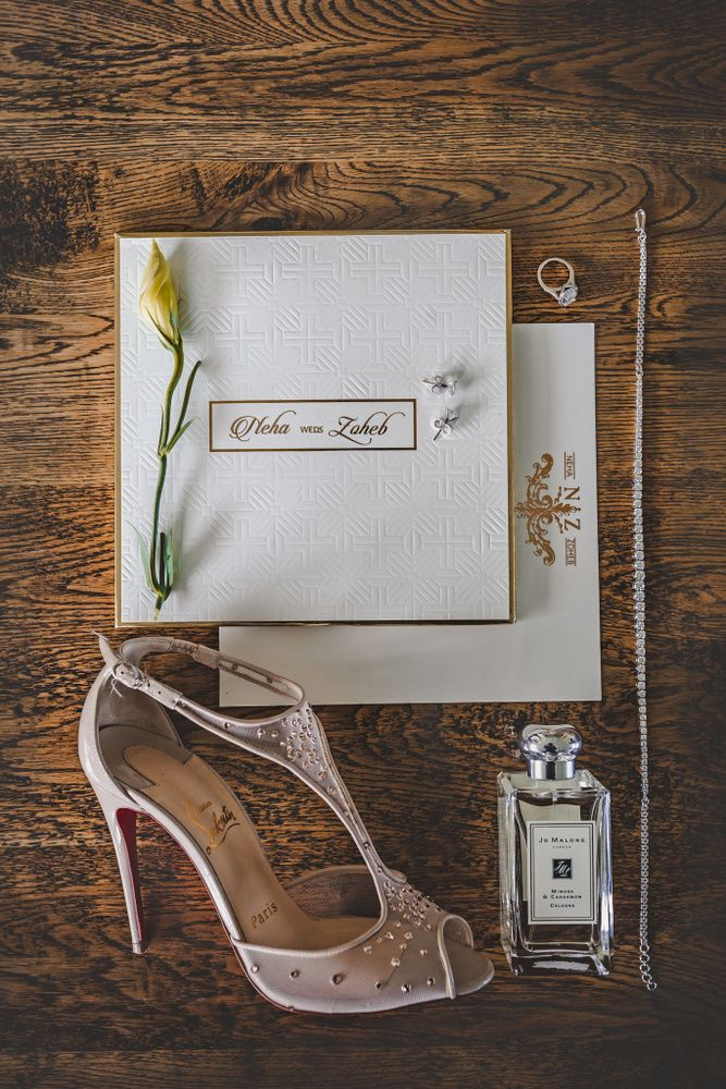 Bridal accessories with perfumes and heels