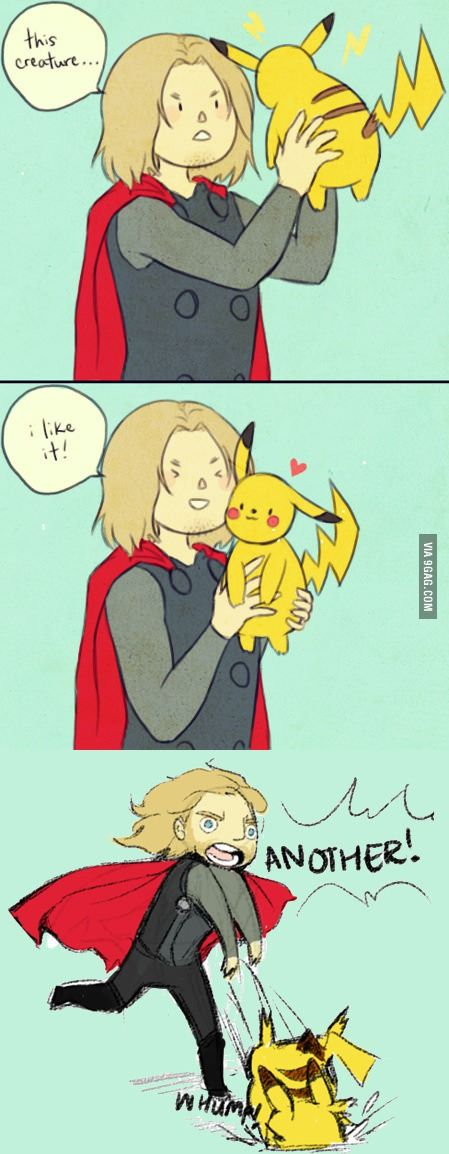 Thor meets Pikachu; BEST ... combo ... EVER!!!