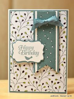 Jan Brown, Handmade Cards Atelier: Stampin' Up! Wildflower Fields Designer Series Paper; SU The Sky's the Limit sentiment; SU First Sight bird stamp