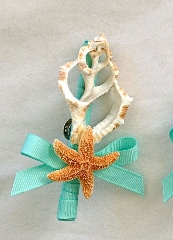 Beach Wedding Seashell Boutonniere Groom by SeashellCollection