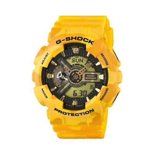 This vibrant yellow Casio G-Shock watch GA/110CM-9AER from the 'Camouflage collection' will make more than just a statement on your wrist! Its features include 5 daily alarms, world time in major cities, auto LED light, magnetic resistant which shields the watch from magnetic fields, stopwatch, countdown timer and it's 200M water resistant. Phew! RRP £140 Our Price £95