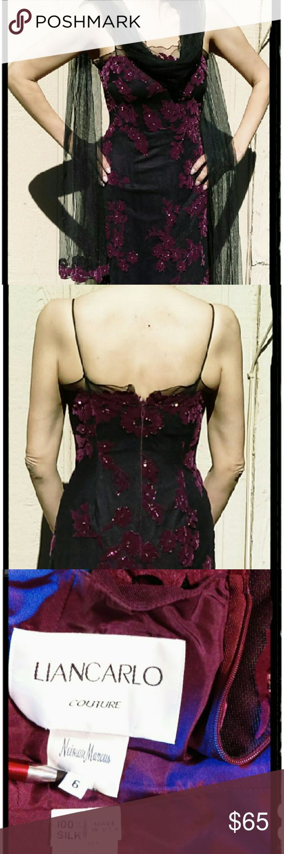 Black dress neiman marcus - Liancarlo Couture Neiman Marcus Evening Dress Sz 6 Black Plum Burnt Out Sequined Dress