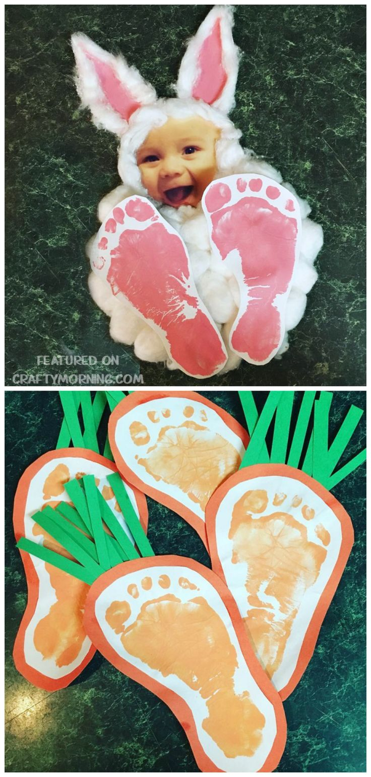 Easter footprint bunny photo keepsake craft for the kids to make! Also find footprint carrots for an easter art project.