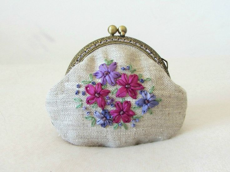 Hand embroidered coin purse, silk ribbon embroidery, embroidered linen coin purse by JRsbags on Etsy