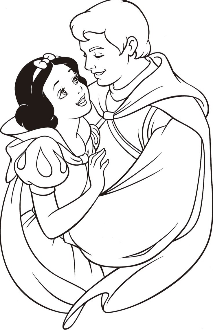 Snow & Prince Charming Coloring Pages Pinterest Snow