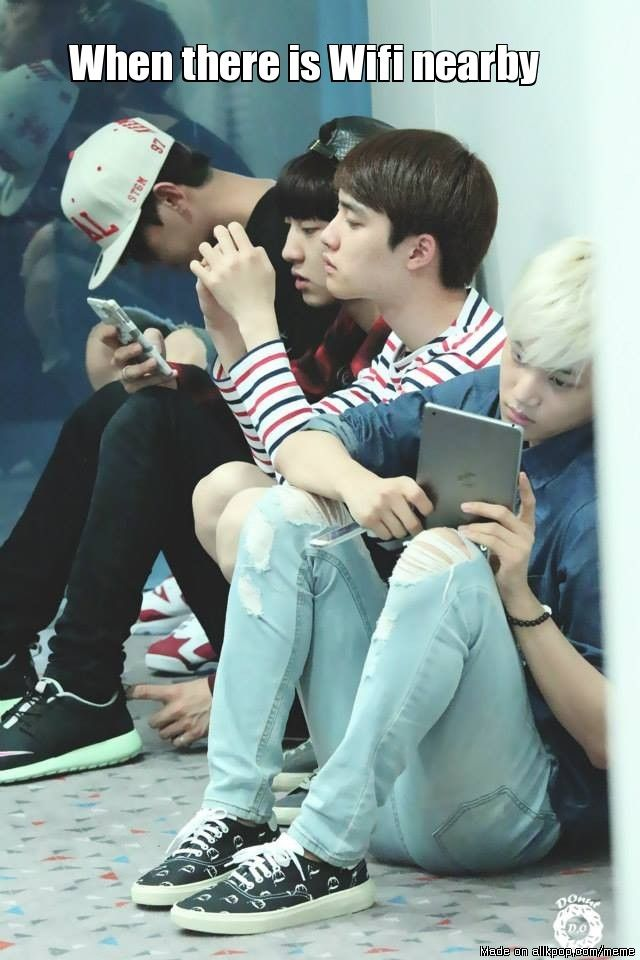 Remember that one Super Junior tweet video of all the members spread apart from each other at the airport all on electronics. Great