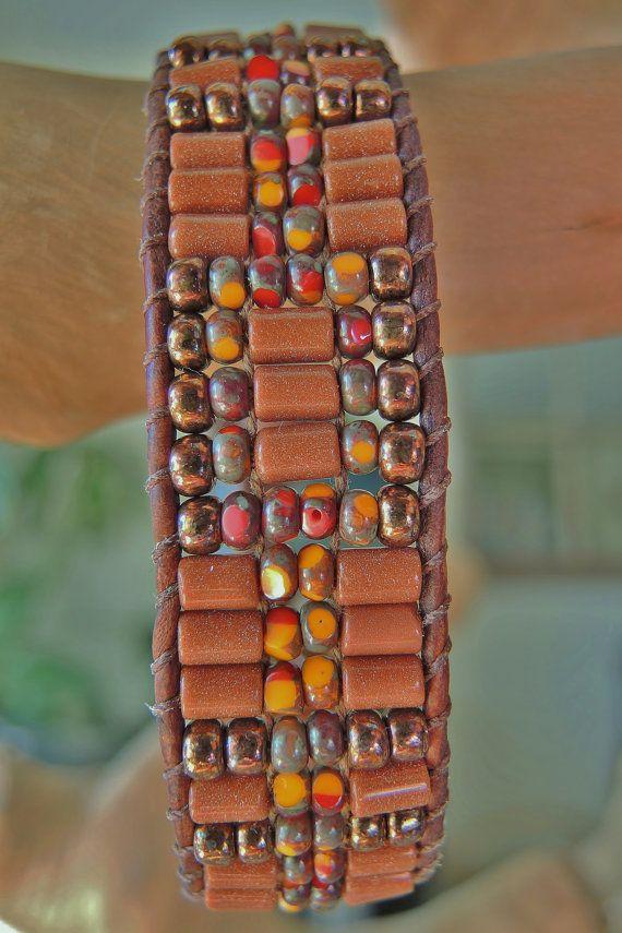 Unisex RUSTIC GOLDSTONE Leather Bracelet by BraceletsofBlueRidge, $72.00