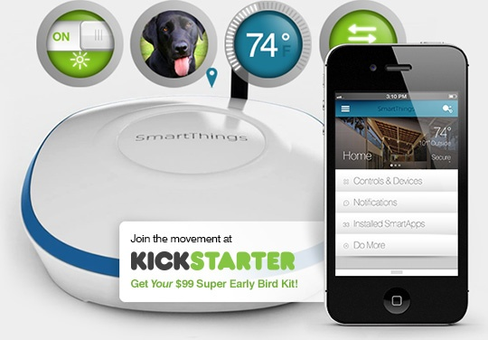 SmartThings Hub and Mobile App.  Automate your home.