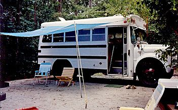 "school bus camper | We built this camper from a ""short bus""... more on this later..."