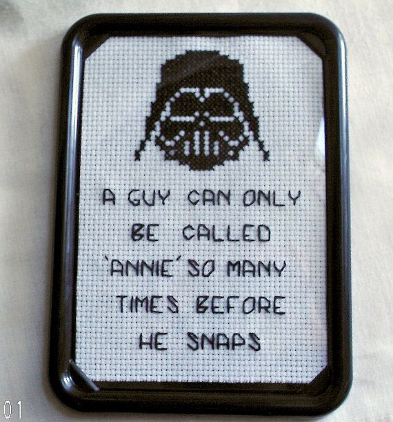 STAR WARS Darth Vader Framed Cross Stitch by SnarkyLittleStitcher, $10.00