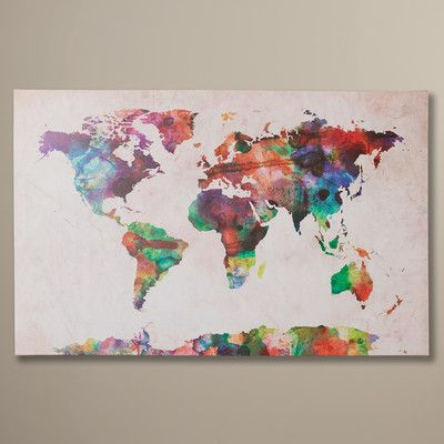 """Bungalow Rose """"Urban Watercolor World Map"""" by Michael Tompsett Graphic Print on Canvas"""