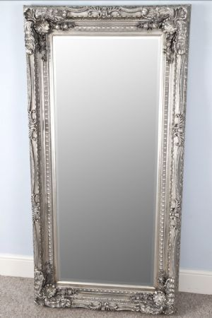 Large Rectangular Louis Style Carved Silver Full Length Leaner Floor Standing Mirror - Louise Silver