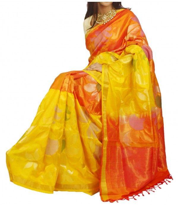 Yellow and Orange Uppada Pure Silk handloom Saree