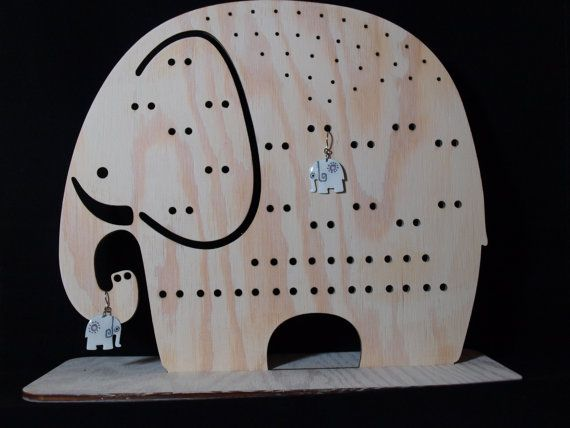 Jewelry organizer Elephant wooden Jewelry stand an by CinkyLinky