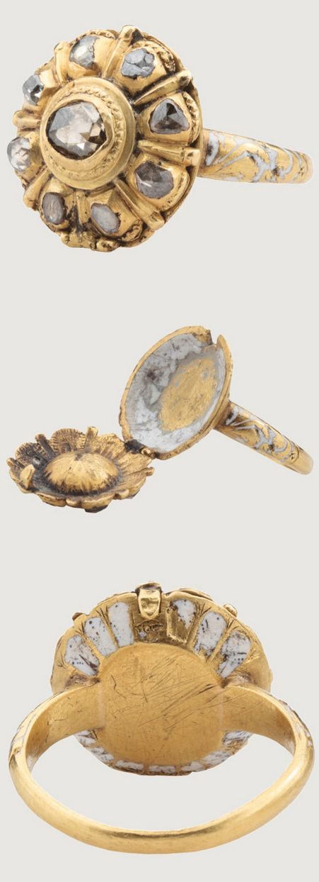 "LATE RENAISSANCE DIAMOND CLUSTER RING WITH OPIUM COMPARTMENT, Spain?, about 1630–1640, gold, diamond. Such ring was ""locket ring,"" which contained miniature of loved ones or of royal or political persons. Some rings with compartments held religious relics, but others were intended to contain poison to allow the surreptitious removal of enemies or rivals by lacing their food or drink. The compartment was intended to contain an opiate in some form or other. The whole bezel represents the…"