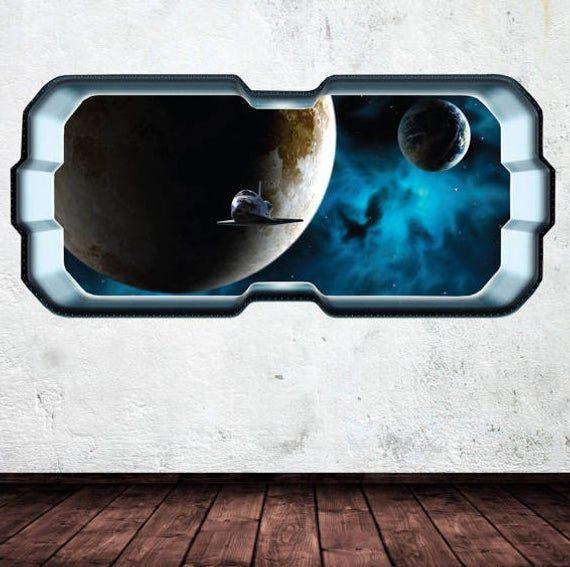 Space Planet Window Galaxy Stars Full Colour Wall Art Sticker Decal Boys Bedroom