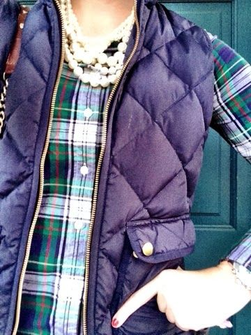 Plaid, pearls, & puffer vests.