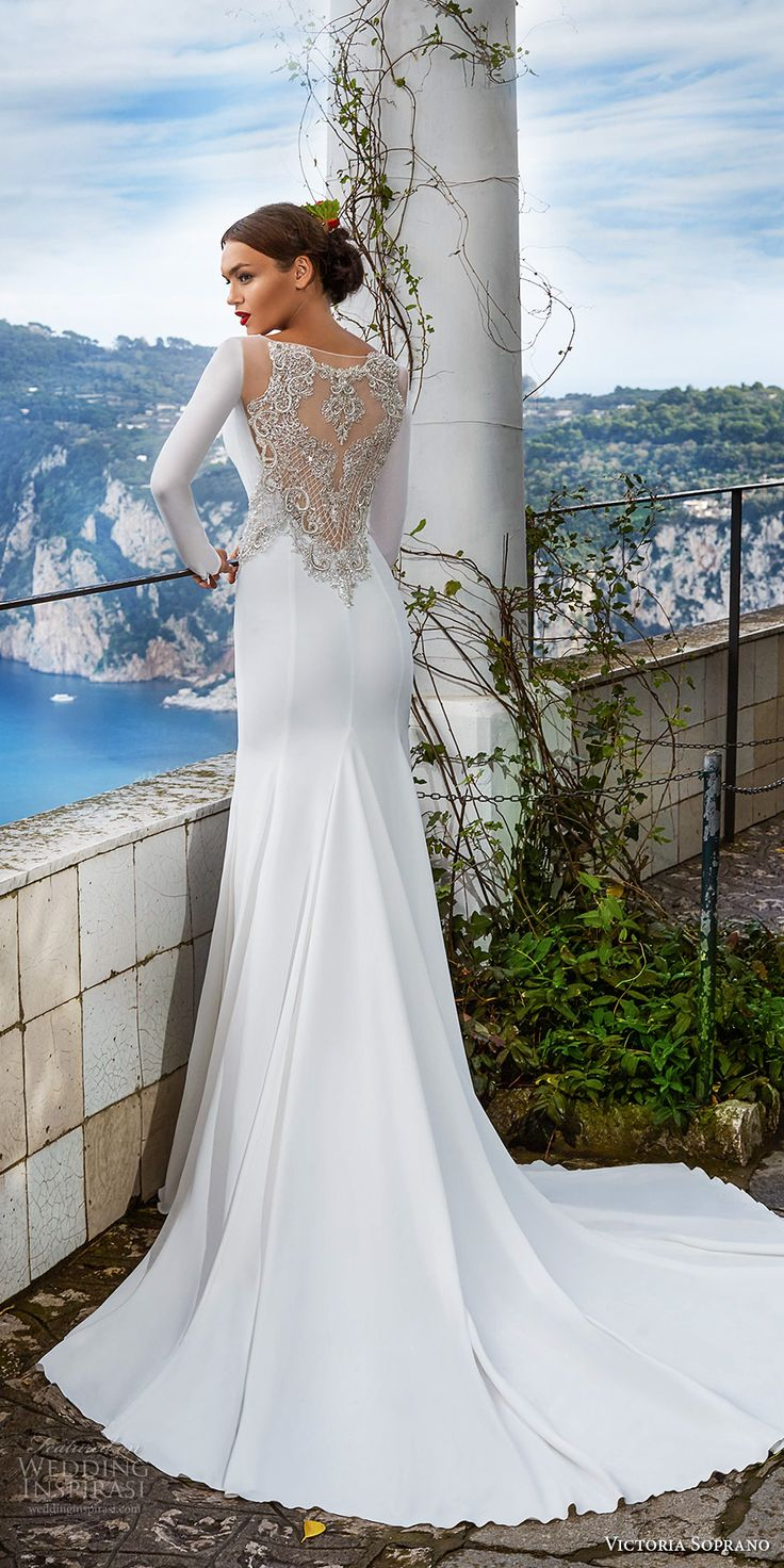 victoria soprano 2017 bridal long sleeves bateau neck simple clean elegant sophiscated side slit sheath wedding dress lace back chapel train (estella) bv -- Victoria Soprano 2017 Wedding Dresses  #wedding #bridal  #weddingdress